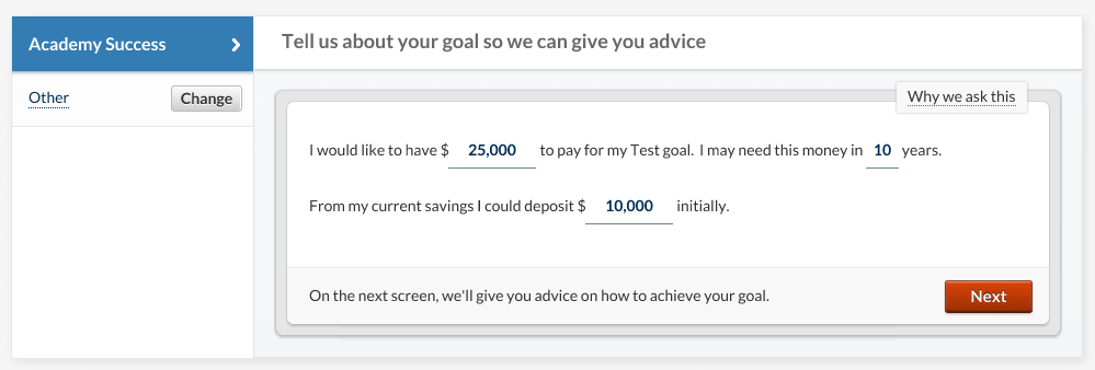 betterment savings goal